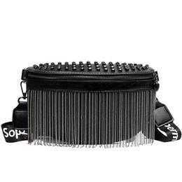 $enCountryForm.capitalKeyWord UK - Women Punk Rivet Waist Bags Tassel Cool Fanny Pack Leather Chest Belt Bags Crossbody Shoulder Phone Money Bum Hip Purse