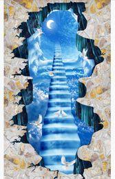 $enCountryForm.capitalKeyWord Australia - Custom 3D PVC self-adhesive floor photo mural wallpaper Ladder Cloud Sky Moon White Dove Mall Bathroom 3D Waterproof Floor Painting