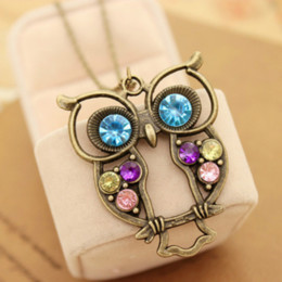 Cute long Chain neCklaCe online shopping - Hot Fashion Jewelry Vintage Colors Hollow Cute Owl Pendant Necklace Retro Hollow Carved Sweater Chain For Women Long Necklace