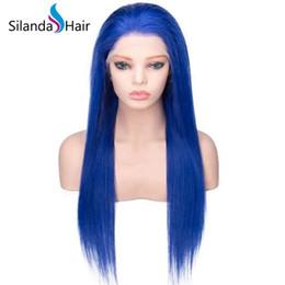 Human Hair Brazilian Blue Australia - Silanda Hair Big Discount pre Dyed Blue Brazilian Remy Human Hair Lace Front Full LaceWigs Silky Straight Free Shipping