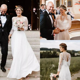 Wholesale bohemian lace tops for sale – plus size Top Lace Chiffon Country Wedding Dresses with Long Sleeves Floor Length Backless Bohemian Bridal Gowns
