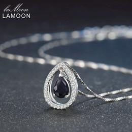 Sapphire Pendants Australia - Lamoon 5x7mm Teardrop 100% Dark Blue Color Real Blue Sapphire 925 Sterling Silver Chain Pendant Necklace Jewelry S925 Lmni059 J190524