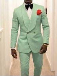 Piece Suits For Men Formals Australia - Mint Green Men Groom Tuxedos for Wedding Suit 2019 Shawl Lapel Two Piece Jacket Pants Formal Man Blazer Latest Style