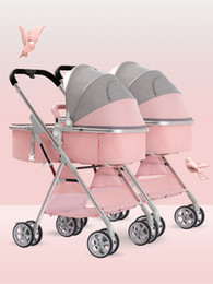 Wholesale baby sits for sale - Group buy Twin baby strollers can sit and lie high landscape baby light and easy to fold double stroller free free color matching