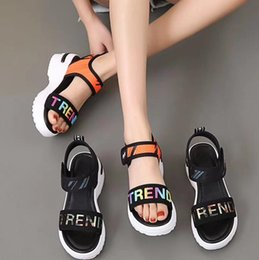 83a4d10fe26d Girl Wedge Sandals Pattern Letter Shoe Of Sponge Cake Woman Thick Bottom  Toe Increase Sandals Beach Shoes Summer Leather Sandles GGA1938