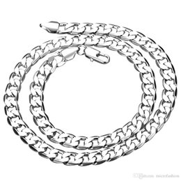Silver Chains 8mm Australia - wholesale 20-24 inches 8MM width Silver man jewelry fashion men necklace solid snake chain gift bags free shipping