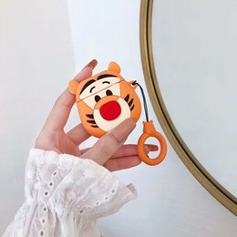 Cartoon earphone headphone online shopping - Cute D Cartoon Tiger Headphone Cover Soft Silicone Case For Airpods Case Charging Wireless Bluetooth Anti lost Protect Earphone Cover
