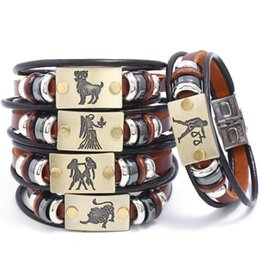 Model Charm Australia - New Classic Twelve constellation charm horoscope bracelets leather bracelet punk jewelry 12 styles model no. NE946-2