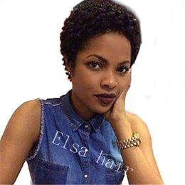 Afro Kinky Human Hair Wigs Australia - Short Curly Human Hair Wig Natural Color Bleached Knots Brazilian Afro kinky curly Hair None Lace Front Wigs With Baby Hair