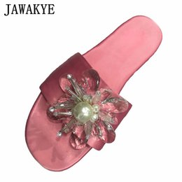 pearl flower girl shoes UK - JAWAKYE Rhinestone Flower Slippers Woman Pink Satin Open Toe Flat Beach Shoes Sweet Pearl Fairy Party Dress Shoes for Girls