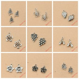 $enCountryForm.capitalKeyWord Australia - Mixed Tibetan Silver Plated Grape Rose Flower Leaf Pumpkin Charms Pendants Jewelry Making Diy Charm Handmade Crafts m053