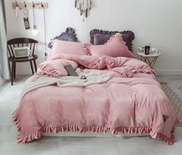 Full Sized Beds Australia - 4pcs Soft Velvet Flannel Bedding Set Winter Warm Fleece Soild Color Duvet cover set Bed Sheet Pillowcases Full size