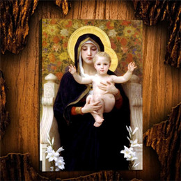 $enCountryForm.capitalKeyWord Australia - Madonna of The Lilies Bouguereau,1 Pieces Home Decor HD Printed Modern Art Painting on Canvas (Unframed Framed)