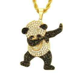 wholesale hip hop jewelry pendants Australia - New fashion trends in Europe and the United States hip-hop diamond panda Pendant Necklace nightclub exaggerated cool long pendant jewelry