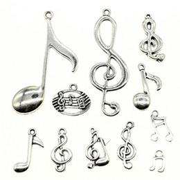 $enCountryForm.capitalKeyWord NZ - 300Gram Mix Designs Antique Silver Color Zinc Alloy Musical Note Charms Pendant Jewelry Accessories