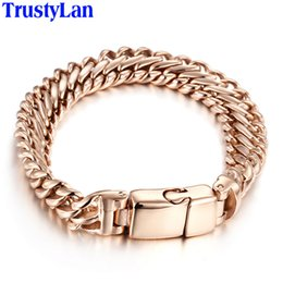 Magnets jewelry online shopping - TrustyLan Thick Chain Man Bracelet MM Wide Rose Gold Color Stainless Steel Mens Bracelets With Magnet Clasp Armband Jewelry