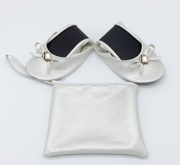 Foldable Flats Wholesale Australia - Cheap foldable ballet flat in bag roll up flats with big tote bag