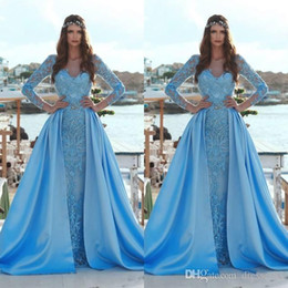 $enCountryForm.capitalKeyWord Australia - Fairy Sky Blue Mermaid Evening Dresses With Detachable Skirt 2019 Newest Sheer Long Sleeves Vintage Lace Applique Long Prom Gowns Pageant
