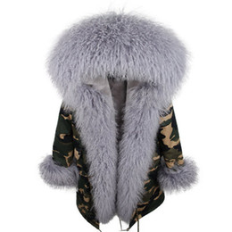trimmers for sale NZ - Snow parkas for sale grey rabbit fur lining Camouflage shell long parkas with grey Mongolia sheep fur trim
