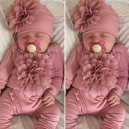 Wholesale 3d clothing girl online – oversize 2PCS Newborn Baby Girl M Clothes D Flower Romper Jumpsuit Hat Outfit Set infant onesie with headband one piece