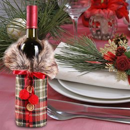 $enCountryForm.capitalKeyWord Australia - Wine Bottle Bag Beautiful Christmas Decor Lattices Restaurant Bowknot Champagne Package Cloth Ornament Festival Party Supplies