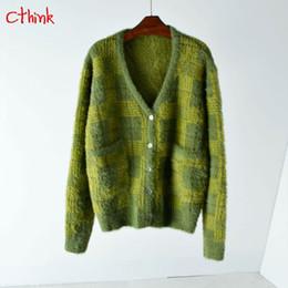 Winter Mohair Sweater NZ - Winter Thicken Mohair Christmas Cardigans Women  Thicken Knitted V Neck Outerwear 9625e3074b95