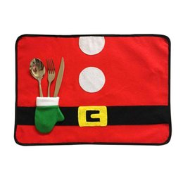 $enCountryForm.capitalKeyWord NZ - 1PC Santa Claus Costume Table Mat Pattern Dinner Party Knife Fork Place Mat Christmas Decoration for Home New Year's Products