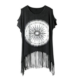 $enCountryForm.capitalKeyWord Australia - Punk Rock Rivet Summer New Fashion T Shirt Off The Shoulder Tops For Women Tassel Cotton T-shirt Casual Women's Clothing Q190530