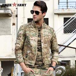 tactical camo uniforms 2019 - FreeArmy Uniform Slim Jacket Men Coats Camouflage Army Camo Bomber Man Jackets Tactical Outwear Breathable Windbreaker c