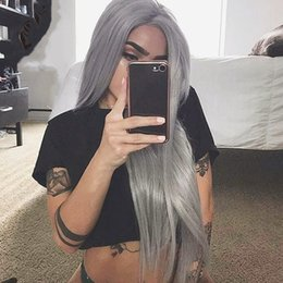 Wig Grey Australia - Free Shipping Grey Color Long Straight Synthetic Lace Front Wigs for Women Natural Hairline Heat Resistant Cosplay Party Wigs Baby Hair