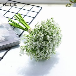 brides bouquet white Australia - YO CHO Artificial Baby's Breath Flower Bridal Wedding Bouquets White Pink Baby's Breath Foam Flowers Wedding Bouquets Marriage Supplies