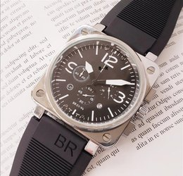 Все циферблаты работают мужские автоматические ограниченный выпуск часы Bell авиации мужчины спорт дайвинг часы черный корпус BR01-92 черный резина на Распродаже