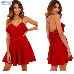 sexy drop waist dresses Australia - Sexy Dress Cap Sleeve Womens Backless Cross Drwstring Ruffles Bundle Summer Waist V-Neck Strapless Mini Dresses Summer Vintage