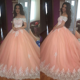 Sage green flower girlS online shopping - Peach Quinceanera Dresses Off Shoulder Appliques Puffy Corset Back Ball Gown Princess Years Girls Prom Party Gowns Custom