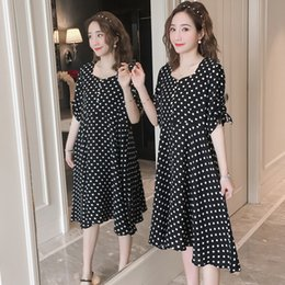 c37734259fb83 618# Sweet Black Dot Printed Chiffon Maternity Dress Summer Fashion Clothes  for Pregnant Women Elegant Lovely Pregnancy Clothing