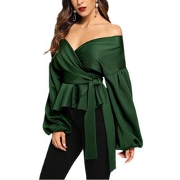 office lady short sleeves shirts 2019 - Women Sexy V Neck Off Shoulder Lantern Long Sleeve Slim Bow Elegant Blouse Office Ladies Solid Fashion Blusa Party Shirt