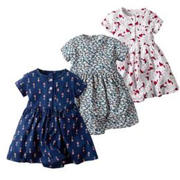 8c49525c5a99 Newborn girl princess dress Short-sleeved floral cartoon printed cotton  romper Baby girl summer casual dress children costumes kid Jumpsuit