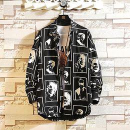 $enCountryForm.capitalKeyWord Australia - Feitong Men Shirts Hawaiian Style Man Black White Print Long Sleeve Shirts Male Oversized Top Shirt Plus Size Streetwear
