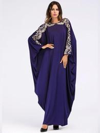 Casual Muslim Abaya Embroidery Sequins Maxi Dress Batwing Kimono Long  Sleeve Dress Ramadan Middle East Arabic Islamic Clothing c0ad8d0e400d