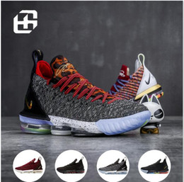 sale retailer 0fe88 c595a 2019 HQ Lebrons 16 Basketball Shoes 16s Advanced Knit Gold Black Dark Grey  Mens lebron Basketball Tranning Boots Size 40-46
