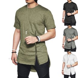 Wholesale New Trends Men T shirts Short Sleeve Solid Color T Shirt Hip Hop Arc hem With Curve Hem Side Zip Tops tee