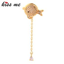 $enCountryForm.capitalKeyWord Australia - Unilateral Cute Gold Color Little Fish Zircon Drop Earrings For Women Long Chain Dangle Earring 2019 Fashion Accessories