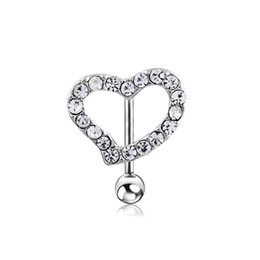 $enCountryForm.capitalKeyWord NZ - Fashion Cute Heart Stylish Sexy Belly Button Rings Shiny Navel Ring Silver Stainless Steel Crystal Body Piercing Jewelry for Women