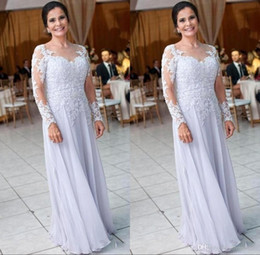 dresses for brides NZ - Modest Chiffon Long Sleeve Mother Dresses for Wedding Lace Appliques Sequins Mother of the Bride Dress Women Formal Wear BA9248