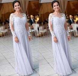 $enCountryForm.capitalKeyWord Australia - Modest Chiffon Long Sleeve Mother Dresses for Wedding Lace Appliques Sequins Mother of the Bride Dress Women Formal Wear BA9248