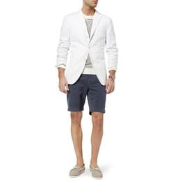 Ivory Linen Suit UK - Summer Beach Line Wedding Tuxedos 2 Pieces Slim Fit Pants Suits Formal Men Casual Blazer Suits (Jacket+Pants)