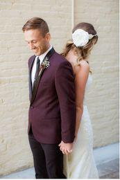 Light bLazers online shopping - Cheap And Fine One Button Groomsmen Shawl Lapel Groom Tuxedos Men Suits Wedding Prom Dinner Best Man Blazer Jacket Pants Tie A597