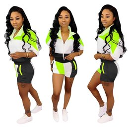 Black Blocks Australia - Summer Women Color Blocking Tracksuit Turn-down Collar Patchwork Zipper Half Sleeve Tops+Shorts 2 Pieces Sets Outfit Joggers Suit New C41203