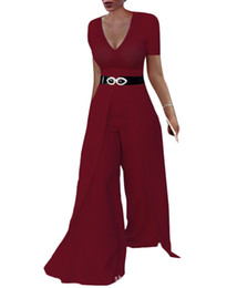 $enCountryForm.capitalKeyWord UK - Summer Women's Clothing Solid Color European and American Fashion Pants Wide Leg Jumpsuit Fasion Dress Trousers with No Belt