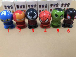 Decor Ornament Australia - The Avengers Ornaments Spring Shaking Head Doll Expression Emoji Automobiles Decor Toys Cute Auto Dolls Funny Toys emoji Shaking head Toys